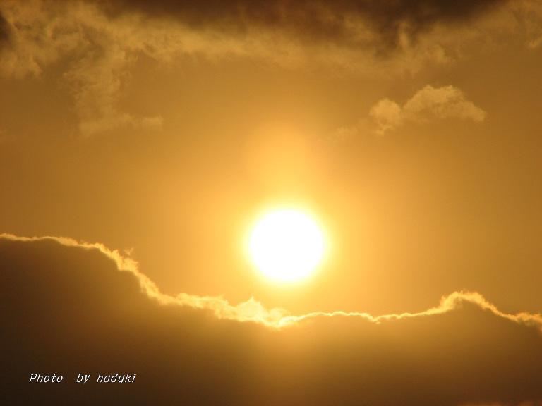 冬の最後の日の夕陽