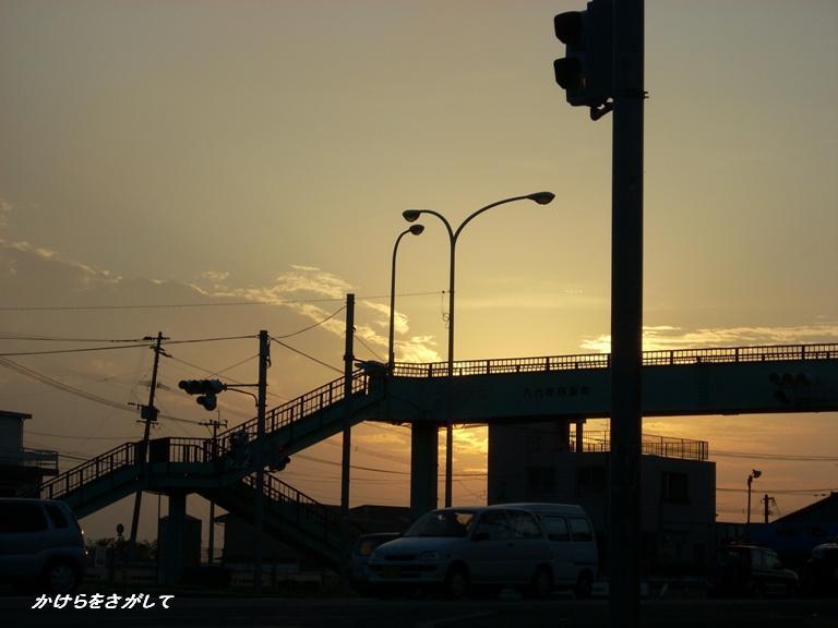 歩道橋の夕焼け